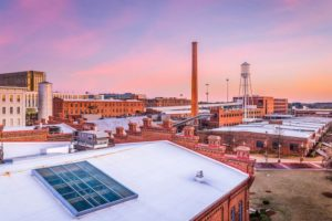 Durham skyline with the American Tobacco Campus view at twilight.