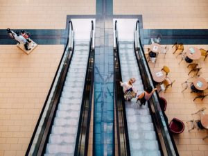 Aerial view of escalators in an indoor shopping mall.