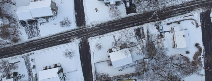Aerial of Snowy Neighborhood