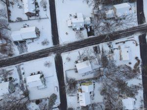 Aerial of Snowy Neighborhood